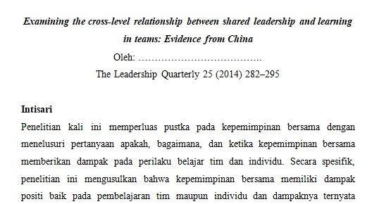 Hubungan lintas level antara kepemimpinan bersama dan pembelajaran dalam tim